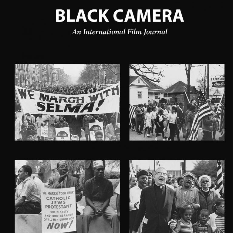 Cover of Black Camera: An International Film Journal. It depicts four photographs from the Selma voting rights march.