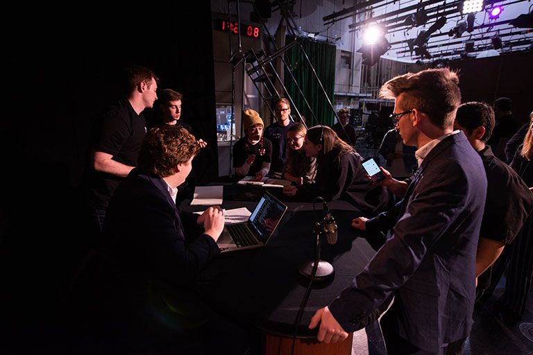 Student crew behind the scenes of the show 'Not Too Late'