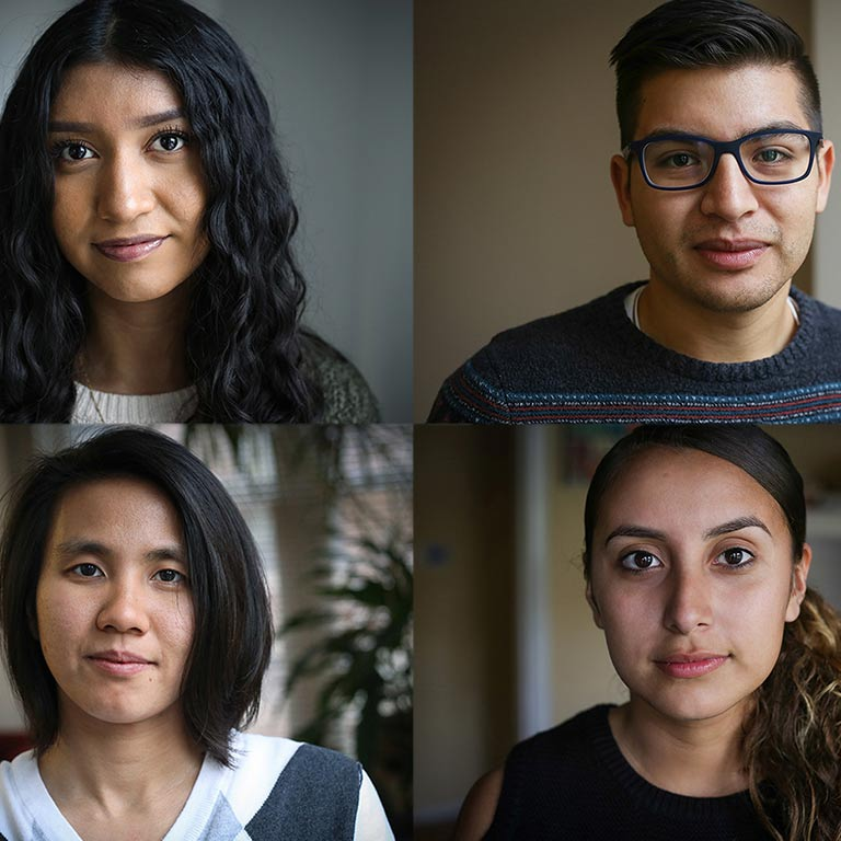 Photo collage of four students that are part of the Dreamers Deferred student article