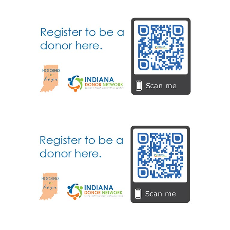 QR Codes and logos for Indiana Donor Network to 'Register to be a donor here'