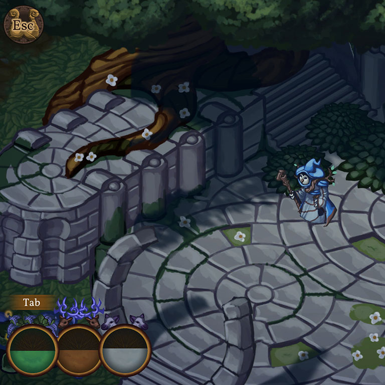 An animated video game scene that shows a witch walking along a stone path.